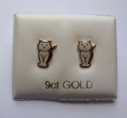 9ct gold Enamelled Cat stud earrings